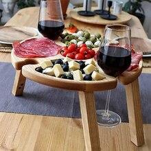 Tavolo da Picnic pieghevole da esterno in legno con piatto compartimento in vetro di vino per tavolo da giardino pieghevole da viaggio in campeggio all'aperto