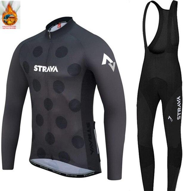 STRAVA-Conjunto de Ropa de Ciclismo para hombre, conjunto de JERSEY y pantalones...