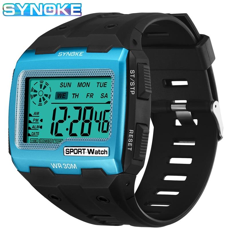 AliExpress - SYNOKE Mens Digital Watches Big Square Dial Alarm Week Shock Resistant  Repeater Chronograph Multifunction Digital Sport Watch