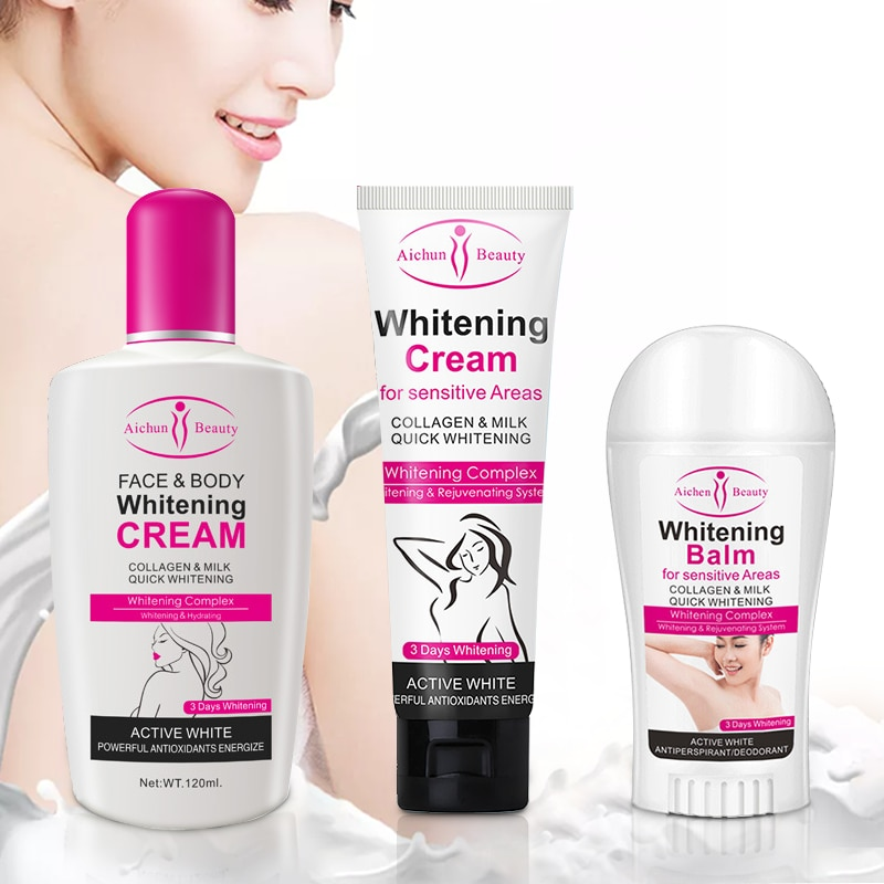 Whitening Cream Balm Stick Legs Knees Private Parts 3PCS Beauty Body Creams Whitening Formula Armpit Whitener Intimate Armpit