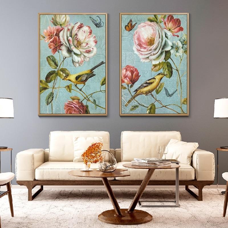 Hermosa flor pájaro Color Retro Poster arte impreso lienzo pintura cuadro pasillo casa pared arte Graffiti dormitorio decoración moderna
