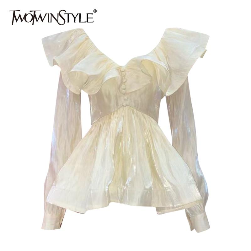 TWOTWINSTYLE المشمش أنيقة المرقعة الكشكشة تونك قميص نسائي الخامس الرقبة طويلة الأكمام الكورية ضئيلة امرأة الموضة البلوزات 2021 جديد