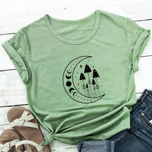 Magic Mushroom And Moonphase Print 100%Cotton Women Tshirt New Arrvial Summer Casual Short Sleeve To