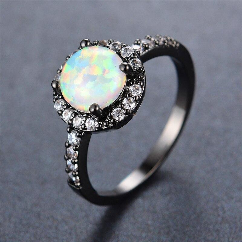 Bonito anillo de ópalo de fuego blanco para mujer, anillos de boda de oro negro de 14KT para mujer, anillo de compromiso redondo de promesa de amor