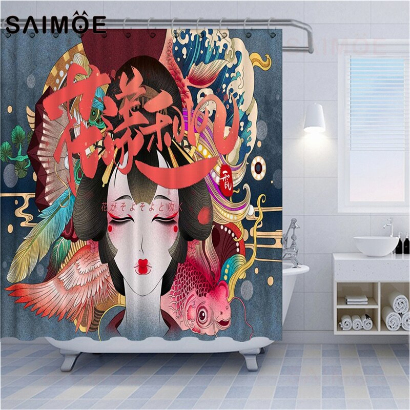 SAIMOE, cortinas de ducha de estilo japonés, belleza asiática, cortina de ducha para baño, elemento de flor de cerezo, decoración del hogar, cortina de baño