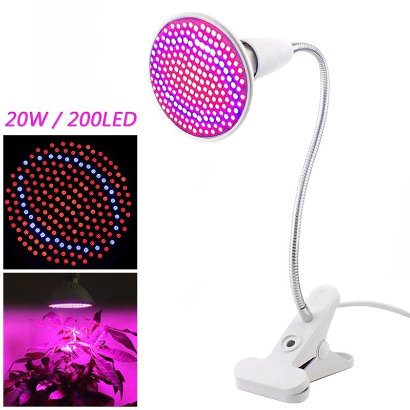 E27 85-265V Luz de cultivo interior 6W 15W 20W LED Luz de crecimiento espectro completo para plantas hidropónicas flores verduras crecer