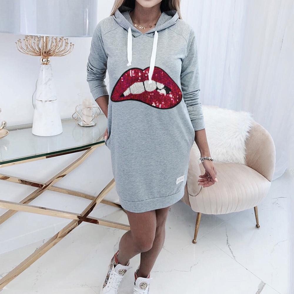 Frauen Lip Print Sweatershirt Kleid Mode Sport Kordelzug Hoodied Kleid Langarm Frühling Pailletten Mini Kleid D30