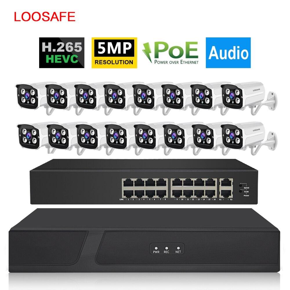 16CH 5MP POE NVR Kit de système de sécurité extérieur 1080p étanche P2P IP caméra HDD Onvif CCTV Audio vidéo Surveillance caméra
