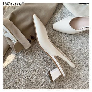 2021 Ins White Dress Shoe Ladies Summer Women High Heel Sandals Slingback Pumps Shallow Mixed Colors Pointed Toe Buckle Heeled
