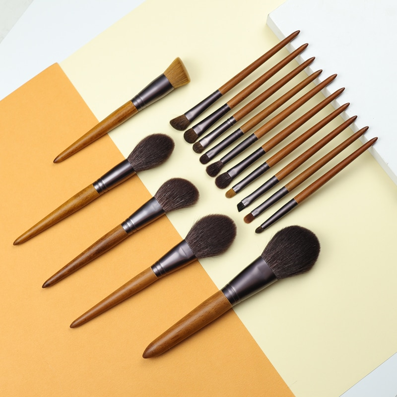 OVW, 15 шт., набор кистей для макияжа из козьей шерсти Saikoho, портативный набор для пудры, тонального крема, теней, растушевки, кисти, инструменты