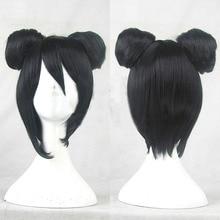 Love Live! Nico Yazawa Cosplay Wigs High-temperature Fiber Synthetic Hair Asymmetrical Buns Short Black Hair +free hair cap