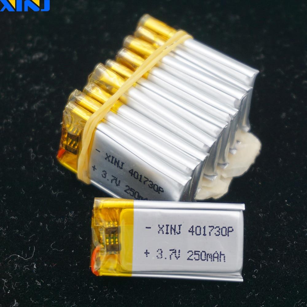XINJ 10 stücke 3,7 V 250 mAh Li-Po Polymer Batterie 401730 Für DIY mp3 gläser Spielzeug kopfhörer bluetooth lautsprecher smart uhren DVR DVC