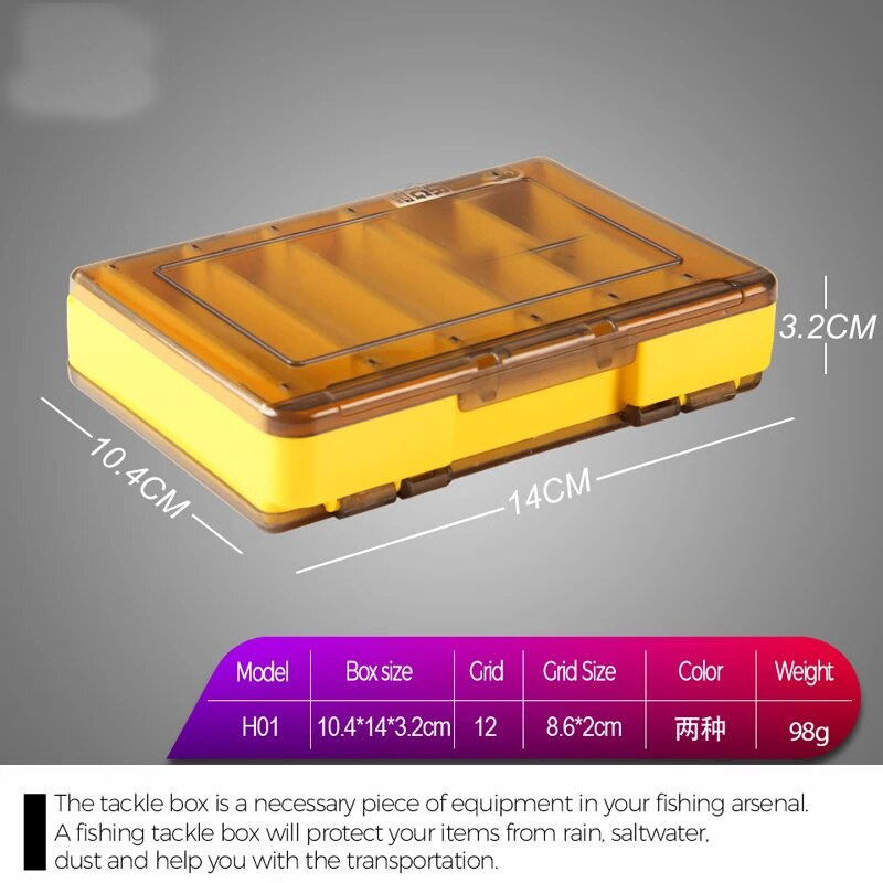 Doublex Sided Fishing Tackle Box 12 Compartments Bait Lure Hook Storage Box Fishing Accessories Plastic Storage Case