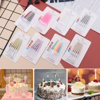 10pcs%e2%80%8bbox long thin pencil cake candle safe flames kids birthday party wedding cake candle favor supplies cake decorations set