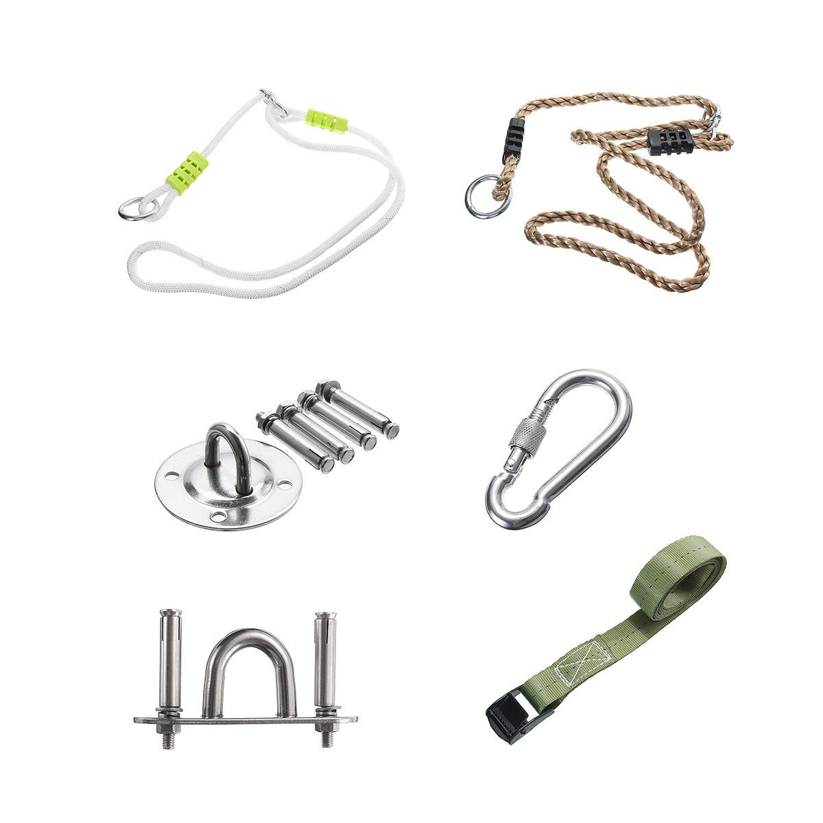 6 tipos de viaje Camping piezas de hamaca de plástico al aire libre árbol Swing conversión extensión cuerda Kit herramientas accesorios de oscilación