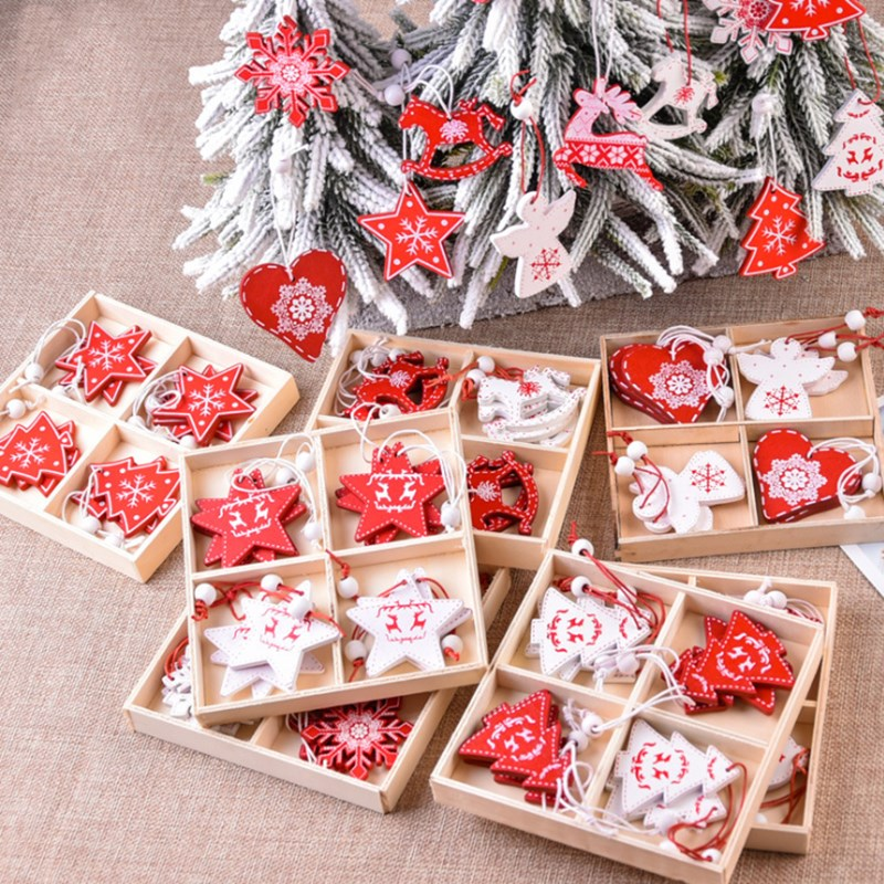 12pcs Christmas decorations creative wooden pendants DIY mini tree boxed elk ornaments decoration