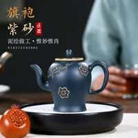Yixing Dark-red Enameled Pottery Teapot Famous Zhou Guo Jun Raw Ore Azure Mud Cheongsam Kettle Manual Teapot Kung Fu Tea Have
