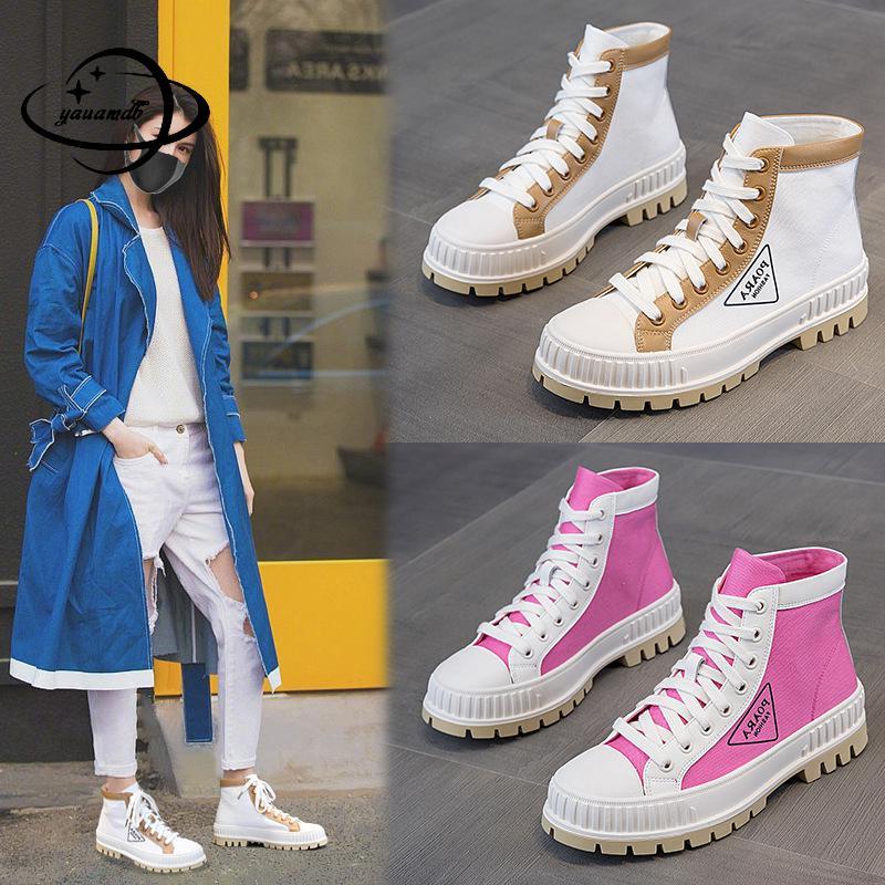 Botas para mujer de 35 a 40 pulgadas, botas de lona para Otoño e Invierno para mujer, botas hasta el tobillo con cordones de tacón cuadrado, colores combinados, zapatos de cuero genuino para mujer h88