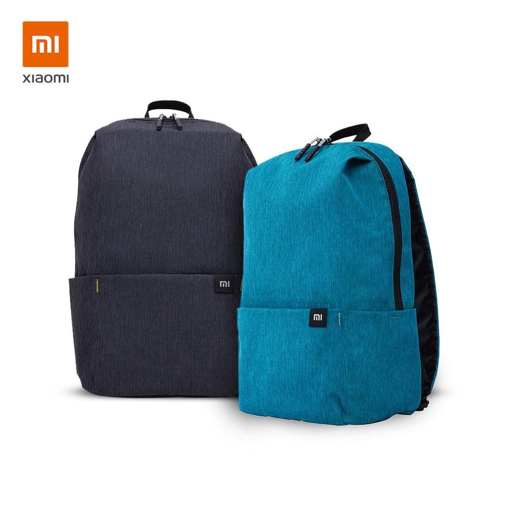 شاومي Daypack 10L 2 قطعة حزمة الأسود مع الضوء الأزرق مي حقيبة الظهر حقيبة مدرسية خفيفة الوزن مقاوم للماء عادية Daliy العمل موضة 20L