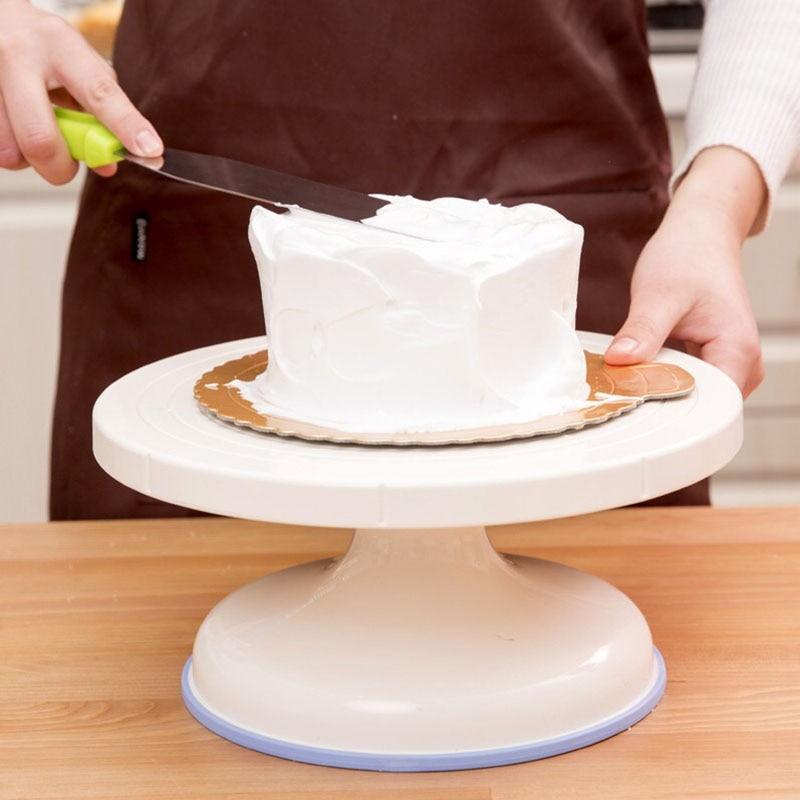 Mesa de plástico para pastel de hornear DIY soporte para pastel tocadiscos decoración giratoria de pastel herramienta para hornear suministros de cocina