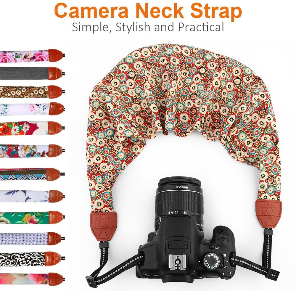 Universal ajustable DSLR Cámara hombro cuello Correa tela de bufanda Floral para CANON NIKON SONY Leica Pentax Olympus
