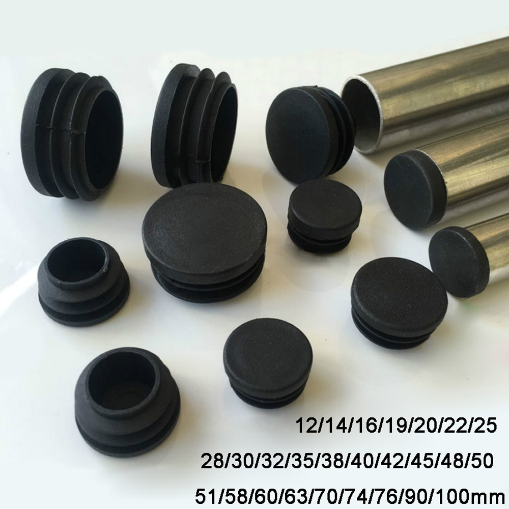 2/4/8pcs Round Plastic Black Blanking End Cap Caps Tube Pipe Inserts Plug Bung 12mm 14 16 18 - 100mm