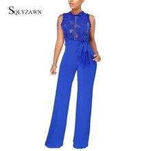Femmes Sexy Transparent dentelle Palazzo pantalon combinaison Vintage bleu noir rouge jambe large barboteuse avec Bandage ceinture élégante salopette 2XL