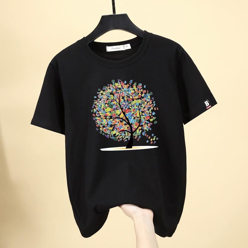 Camiseta Coreana de Zuolunouba, camisetas de moda para mujer, camiseta de verano para mujer con apliques de árbol de flores pintadas en negro