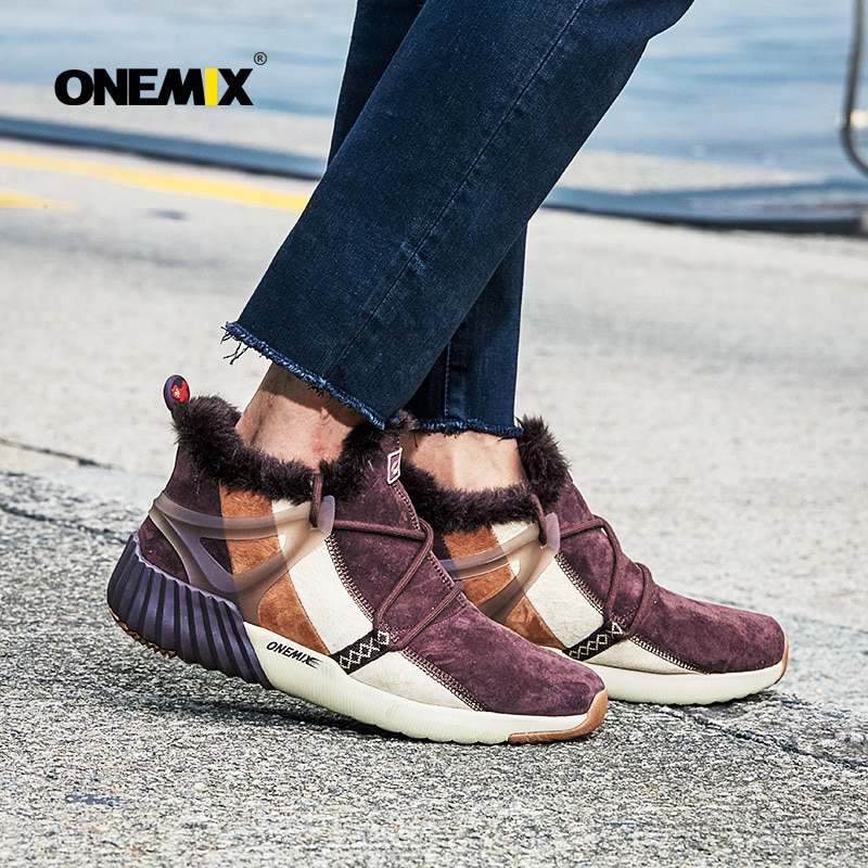 ONEMIX New Winter Mens Running Shoes Boots for Women Warm Wool Waterproof Leather Outdoor Sneakers Adult Ankle Snow