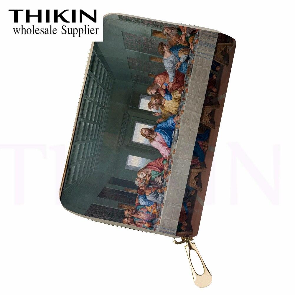 THIKIN The Last Supper imprimir bolsa de pasaporte de viaje impermeable para Womn PU de viaje de cuero de la tarjeta de identificación bolsa de un regalo de la Hristian
