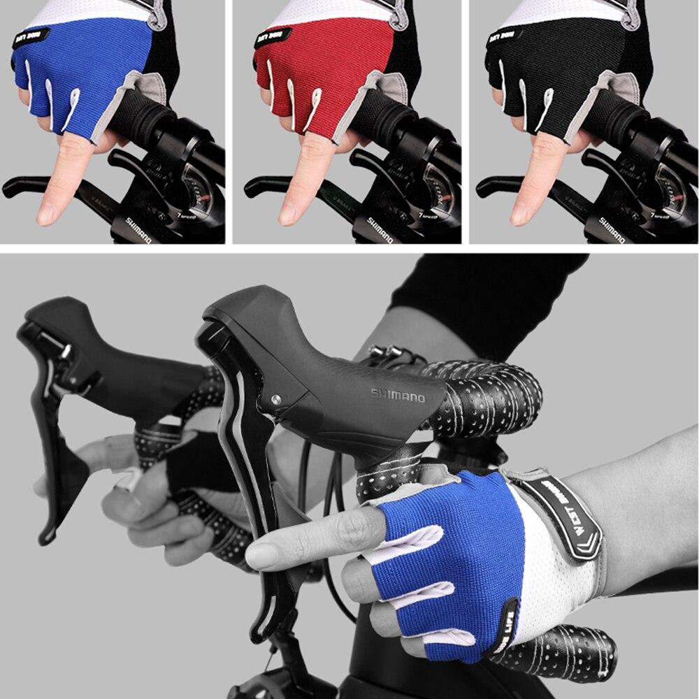 Verano transpirable hombres mujeres medio dedo ciclismo guantes antideslizantes Anti sudor Anti deportes de choque guantes MTB bicicleta guante