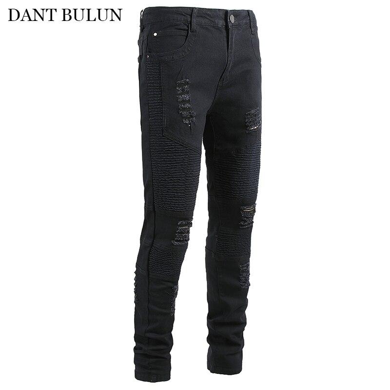 Облегающие байкерские джинсы, мужские облегающие тянущиеся черные брюки, плиссированные мотоциклетные брюки, джинсы на молнии, рваные мужс...
