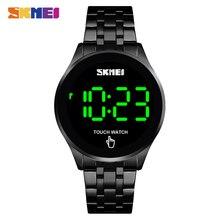 SKMEI 1579 écran tactile LED montre numérique de luxe en acier inoxydable hommes montres noires étanche 30M montre électronique relogio