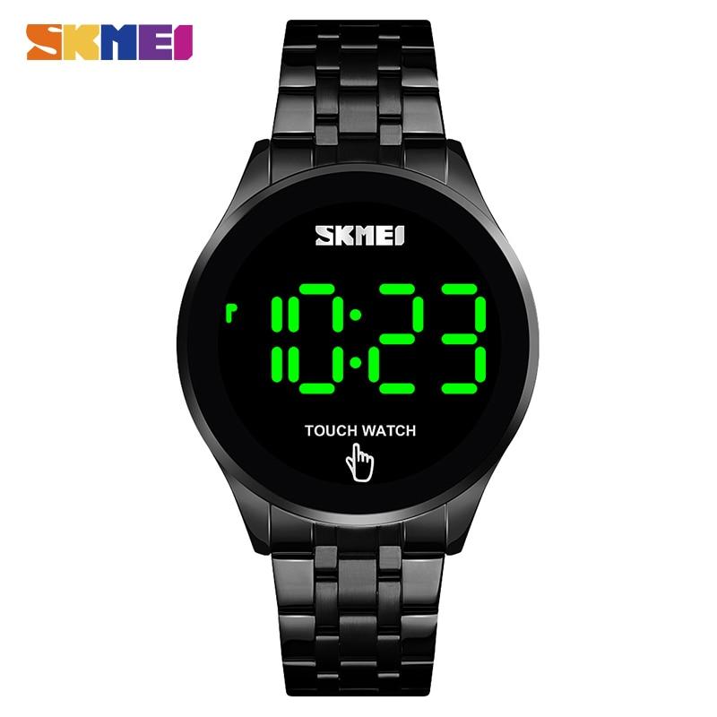 SKMEI 1579 pantalla táctil LED Digital reloj de lujo de acero inoxidable hombres negro relojes a prueba de agua 30M reloj electrónico relogio
