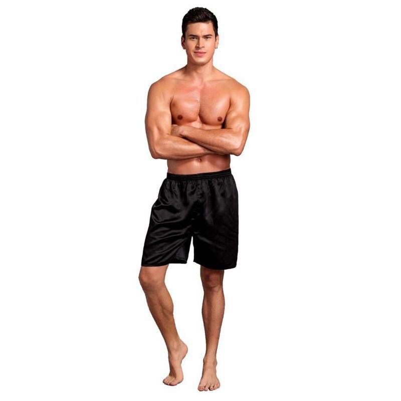 Ropa interior suelta suave pantalones de pijama de satén cintura elástica pantalones cortos suaves sólidos de playa pantalones cortos para hombres