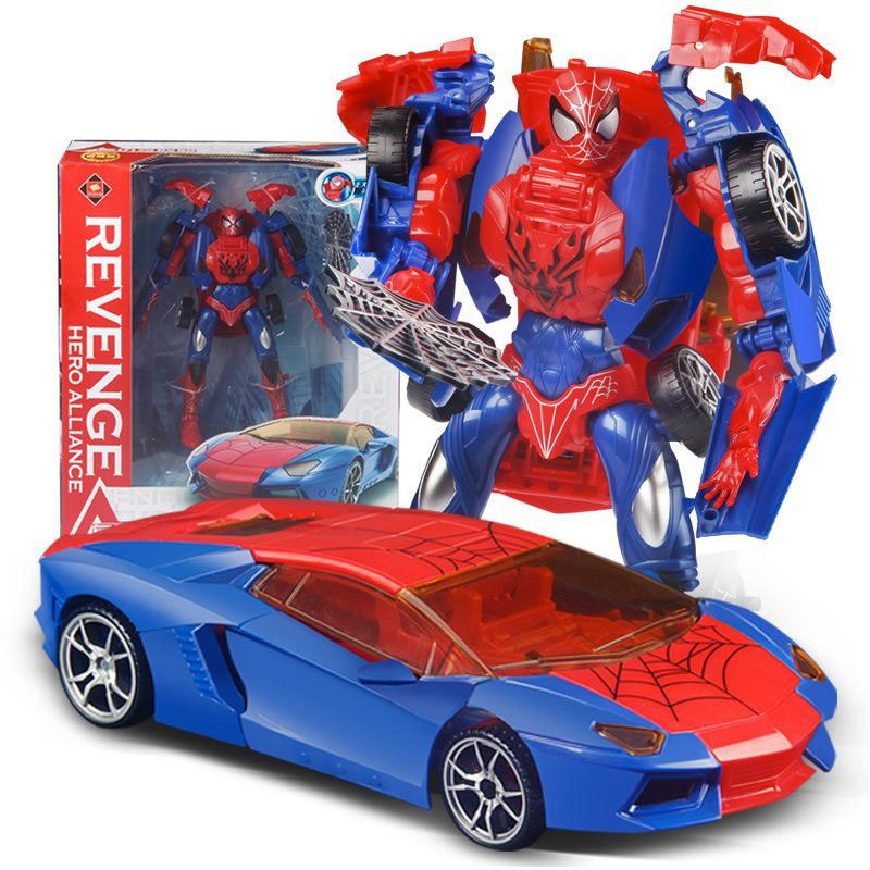 Marvel Avengers Fighting Heroes Spider-man Figure Doll Gk Model Transformation Car Model Deco Ornaments Children's Toy Gifts