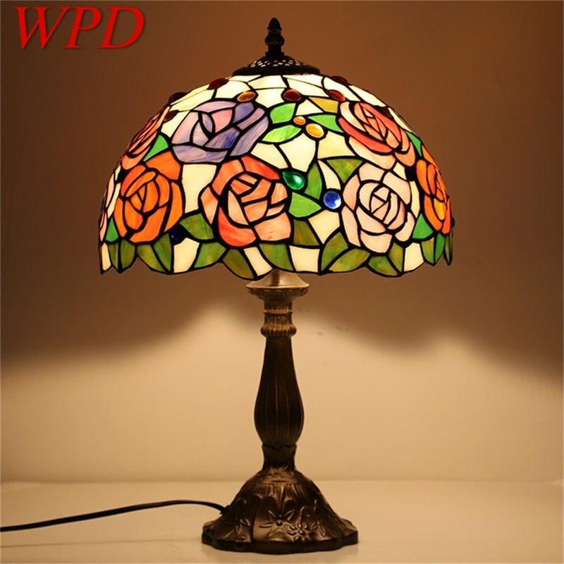WPD مصباح طاولة تيفاني لغرفة النوم المعاصرة الإبداعية زهرة الشكل مصباح ليد المنزل