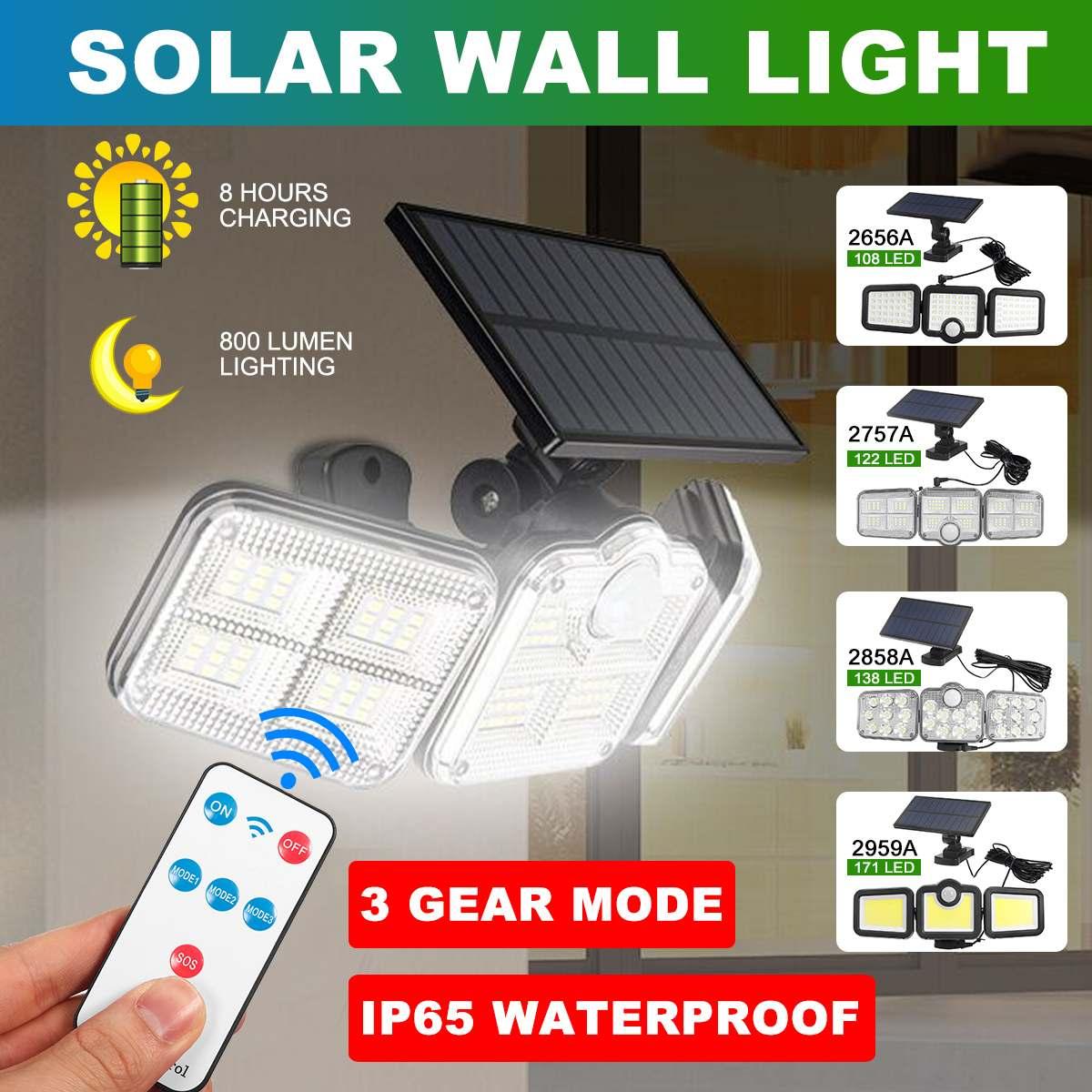 171/138/122/108 LED Wireless Led Solar Motion Sensor Lights Outdoor 3 Heads 270 IP65 Solar Security Lights for Front Door Yard