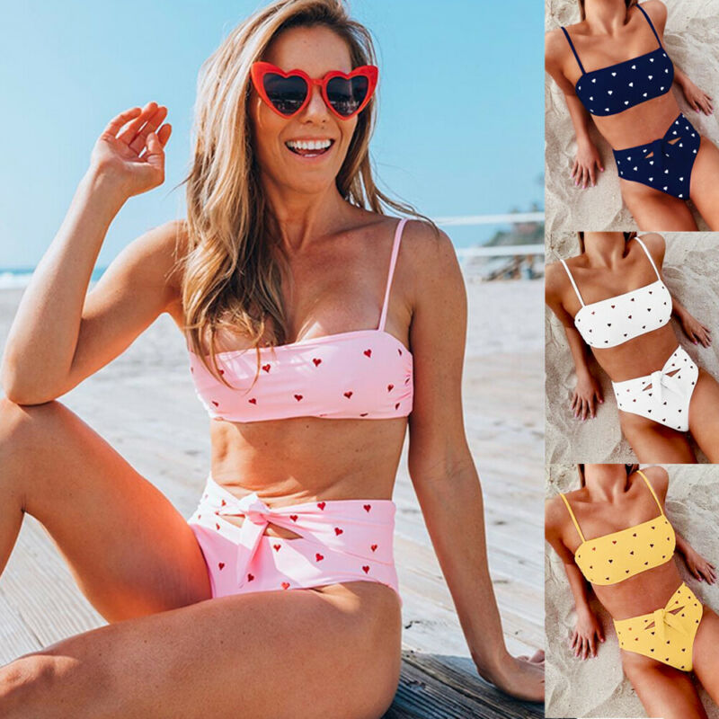 2019 nuevo juego de Bikinis de puntos conjunto combinatorio Sexy para mujer traje de baño Push Up acolchado neón vendaje traje de baño Venta caliente