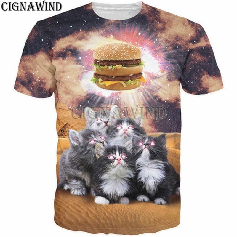 Novo popular t shirt masculino/feminino bonito gatos adoração hamburger 3d impresso t-shirts casual harajuku estilo tshirt streetwear topos