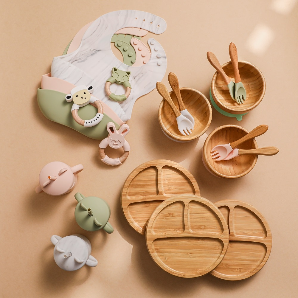 Bamboo Baby Feeding Bowl Spoon Fork Sets Tableware Kids Wooden Training Plate Silicone Suction Cup Baby Products with Gift Box