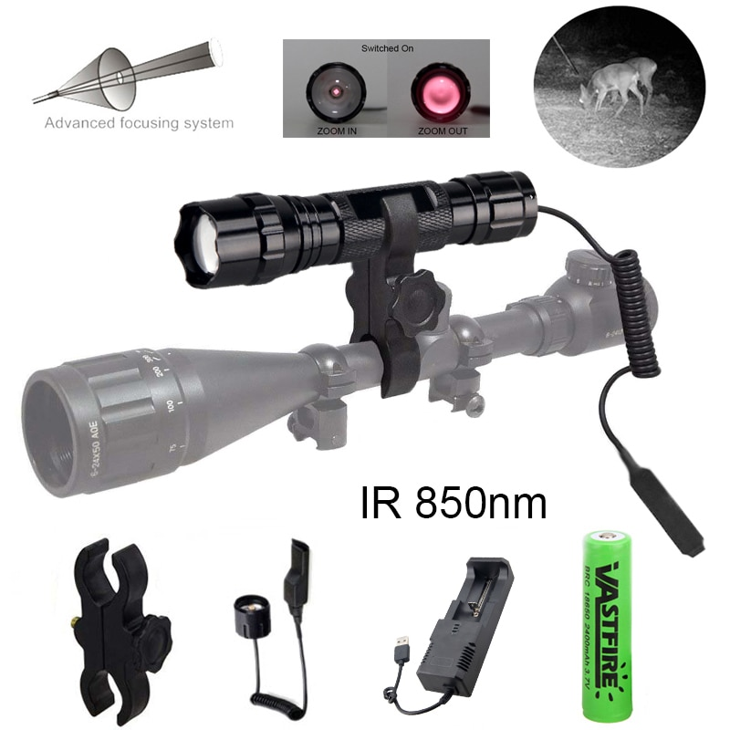 ir 850nm night vision zoomable ir infrared waterproof shake proof led flashlight with zoom telescope functions torch 850NM Torch 5W Zoomable LED IR Infrared Vision Hunting Night Flashlight Tactical Flash light+Gun Mount+Switch+Charger+18650