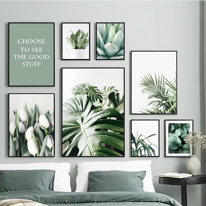 AliExpress - White Tulip Green Orchid Aloe Monstera Plant Art Canvas Painting Nordic Posters and Prints Wall Pictures for Living Room Decor