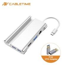 CABLETIME USB C Hub to 4K HDMI LAN Ethernet PD Port Adapter VGA USB3.0  Multi HUB for Laptop Acer Matebook 13 PC C302