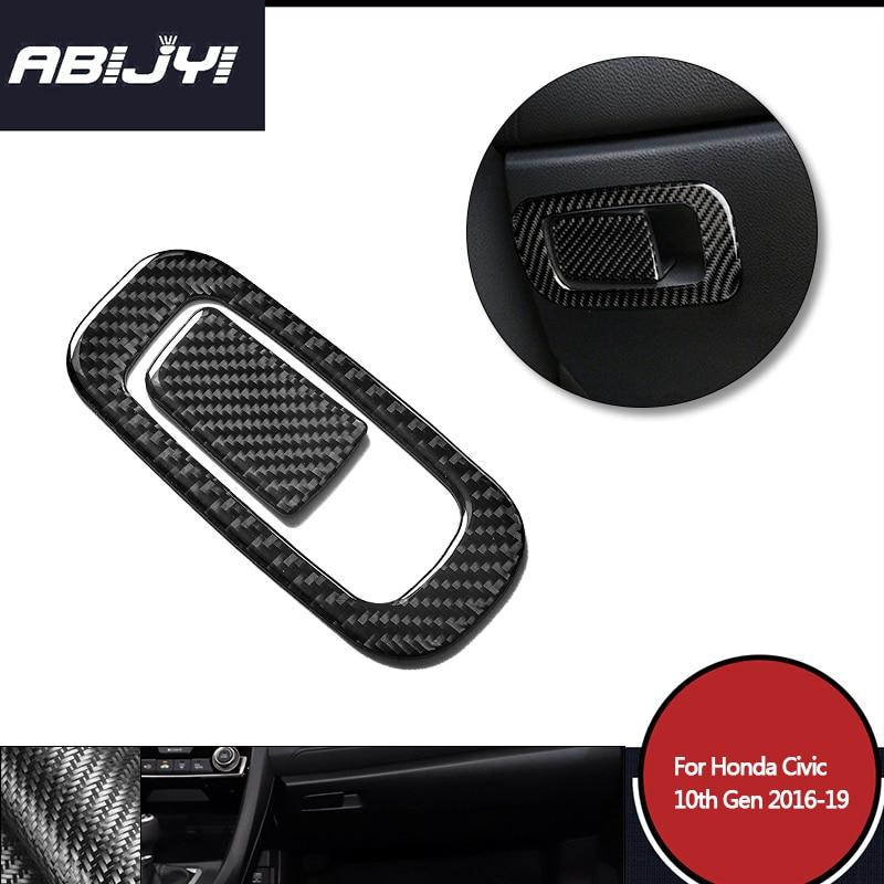1 комплект, автомобильный Стайлинг, ящик для хранения интерьера из углеродного волокна, накладка с ручкой для Honda Civic 10th 2016-2019, автомобильные ...