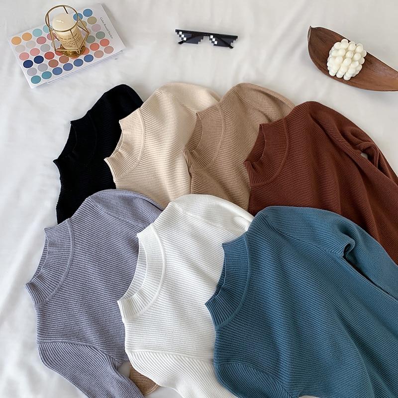 Женские свитера осень-зима Базовая Водолазка вязаные теплые свитера женские пуловеры однотонная полосатая одежда модная