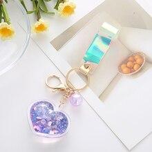 Acrylique créatif dans la bouteille dhuile de sable mouvant amour coeur porte-clés Flash pêche pour les femmes voiture porte-clés sac pendentif EH127