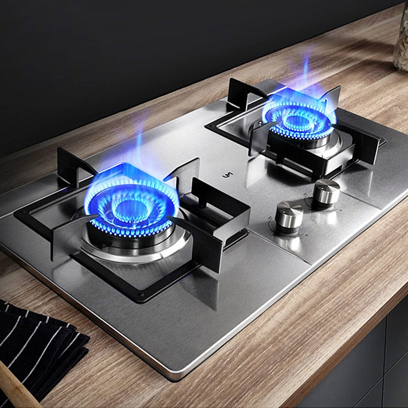 Household Gas Stove Stainless Steel/stalinite Hot Sell LPG/Natural gas Cooker Desktop and Embedded type Cooking Machine