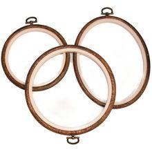 Cerceaux de broderie et cerceaux de point de croix   Cadre daffichage en bois imité-cercle et Kit de cerceau de broderie à la main ovale   Art Craft et