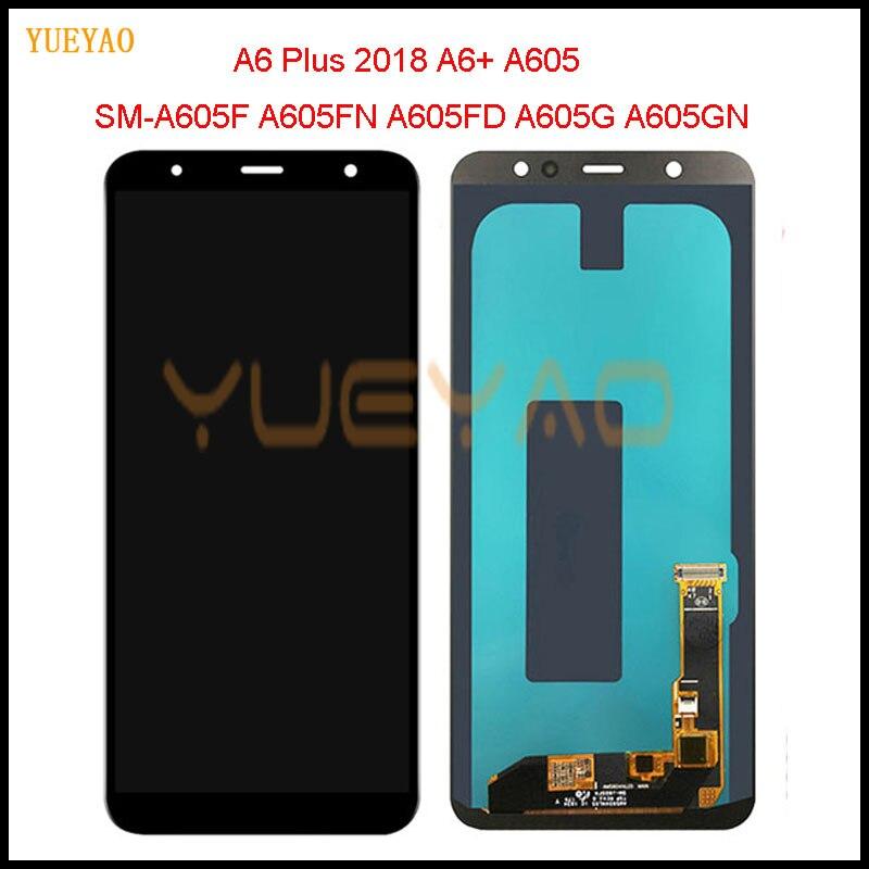 Original nuevo A605 LCD para Samsung Galaxy A6 Plus 2018 A605 A605F A605FN pantalla LCD pantalla táctil montaje reemplazo parte